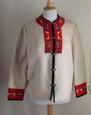 KARI -Norway-Sz S Folk Fantastic Mohair Embroidered Ivory Sweater Jacket