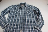 Levis Blue Plaid Western Pearl Snap LONG SLEEVE SHIRT Large 16.5 x 34/35 l
