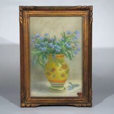 Vintage French Pastel,Bouquet of Flowers,Forget-me-nots,Signed Bellet-Laquère
