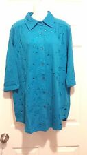 ROMAN'S 3/4 SLEEVE GAUZE BUTTON DOWN TOP PARADISE BLUE EMBROIDERY SIZE M -NEW