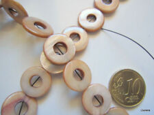 Perlas disco concha natural 15 mm X 27 UNIDADES hilo 40 cm marrón abalorios