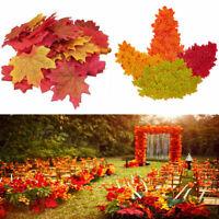 500/1000 Mixed Autumn Maple Leaf Fake Silk Leaves Craft Halloween Christmas Deco