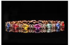 18k Rose Gold Multi-color Sapphire Women's Tennis Bracelet 17cm