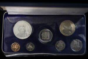 1971 Jamaica Franklin Mint Silver Proof Set w/ Outer Sleeve 7-Coins Animal Coins