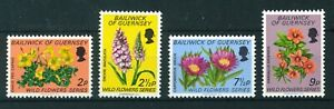 Guernsey 1972 Wild Flowers full set of stamps. MNH. Sg 72-75