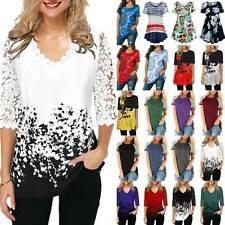 Women Floral Printed T-Shirt Loose Blouse Casual Ladies Tunic Shirt Plus Size