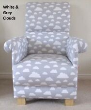 Grey Clouds Fabric Adult Chair Armchair Nursery White Armchair Accent Nursing