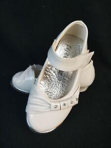 Mädchen Schuhe Strass & Riemen - Festlich - Größe 24 - Weiß (2-106)