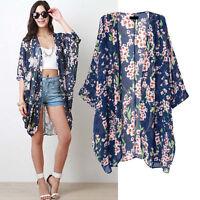 Women Floral Chiffon Kimono Boho Cardigan Blouse Tops Loose Shawl Casual Jacket