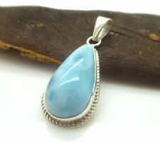 Natural Dominican Larimar 925 Sterling Silver Pendant Made in DR Tear shaped gem