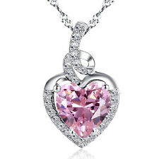 Sterling Silver 2.00 ct Lab Pink Sapphire Heart Cut Gemstone Pendant Necklace