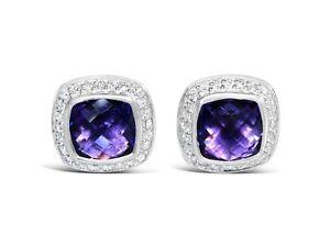 DAVID YURMAN 11x11 ALBION AMETHYST DIAMOND STERLING SILVER EARRINGS $1200