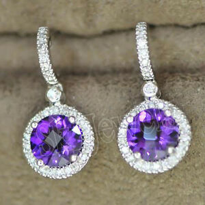 1.25ct Natural Round Diamond 14K Solid White Gold Amethyst Wedding Hoop Earring