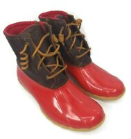SPERRY Top Sider Womens Size 10 Red Saltwater Leather Side Zip Duck Boots