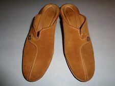 COLE HAAN BROWN SUEDE SLIP ON 3 INCH HEELS SZ 9B MADE IN BRAZIL, CLEAN