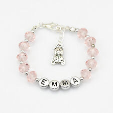 New Girls Kid pink Crystal Bracelets Any Name Birthday Charm Personalised Gift