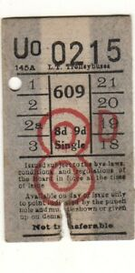 Bus/Tram ticket LT Trolleybuses 8d single Route 609