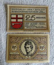 Notgeld der Stadt EHRENBREITSTEIN am Rhein, 25 Pf, 03.08.1921, Koblenz/ Coblenz