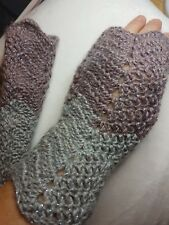 HANDMADE CROCHET LADIES FINGERLESS GLOVES WOOL BLEND SELF STRIPING Beige brown