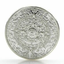 Versilbert Azteken Maya Kalender Souvenir Andenken Münze Sammlung