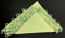 Splendid Vintage Handkerchief Ladies Hanky Vtg Crochet Lace Edge Green Ornate