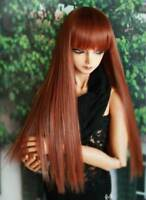1/4 7-8 BJD Doll Soft Wig Red Powder Brown Auburn Bangs Handsome Hair Long Y-9