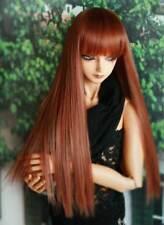 1/6 6-7 BJD Doll Wig Straight Red Powder Brown Auburn Bangs Handsome Hair Long