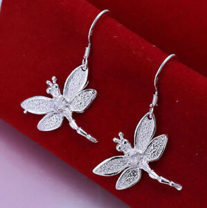 925 Sterling Silver Dragonfly Earrings with Crystal Dangle Drop UK Seller
