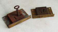 2 Vintage  Brass Cabinet Locks  63mm 1 Key for restoration