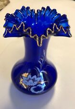 Antique COBALT BLUE Vase Ruffled Edge Painted Gold accents