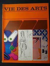 VIE DES ARTS French Canadian Art Magazine #67 SUMMER 1972 Kosso Eloul DAUDELIN