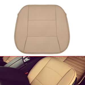 Beige PU Leather Deluxe Seat Cushion Universal Car Front Seat Cover Accessories