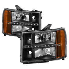GMC 07-13 Sierra 1500 2500 3500 Black Housing LED Headlights Left + Right Set