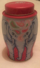 Collectable Williamson Elephant Tea Caddy Tin Pink Blue EMPTY