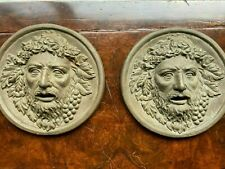 Pair Wrought Iron masks of Bacchus, Roman God of Agriculture, Wine & Fertility,