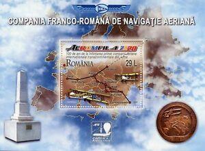 Romania Aviation Stamps 2020 MNH Aeromfila Franco Air Navigation Company 1v M/S