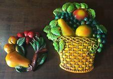 VINTAGE LOT CHALK WARE CHALKWARE  FRUIT  Basket 2 Lg COLORFUL DETAILED