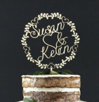 Personalized Couple Wooden Wedding Cake Topper Decoration Keepsake