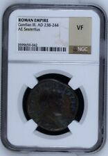238-244 AD ROMAN EMPIRE GORDIAN III AE SESTERTIUS COIN NGC Certified VF