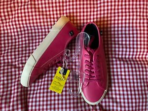 JOULES WOMENS COAST PUMP FAUX LEATHER LACE UP TRAINERS - PINK - SIZE 6