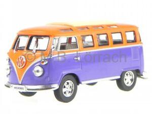 VW T1 Samba Bus Bulli 1962 blue-orange diecast model car Yatming 1/43