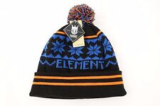 ELEMENT BLACK BLUE ONE SIZE SNOW FLAKE BEANIE SKULL CAP HAT MENS NWT NEW