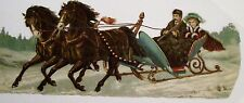 Gorgeous 1800's Die-cut w/ Two Stunning Horses Pulling A Sled w/ Man & Woman *