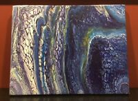 Blue Field - Modern Art Original Abstract Acrylic Pour Painting On Canvas