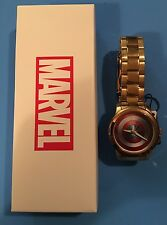 NEW Marvel Comics Avengers CAPTAIN AMERICA Shield Gold Men's Metal Watch!