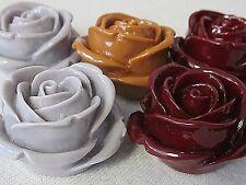 5 VTG PLASTIC ROSE Craft FLOWERS 36x35x20mm FLATBACKS CABOCHONS JEWELRY DESIGN