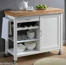 Kitchen Island Table Rolling Cart White Counter Storage Cabinet Natural Wood Top