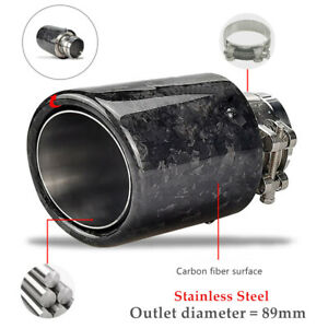 Auto Carbon Fiber 89MM Stainless Steel Clamp Exhaust Muffler Tailpipe Tip Trim