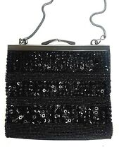 Ann Taylor Loft Black Sequined Beaded Evening Bag Metal Clasp and Chain