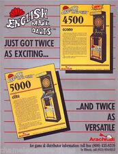 Arachnid ENGLISH MARK DARTS Original NOS Vintage Arcade Game Promo Sales Flyer